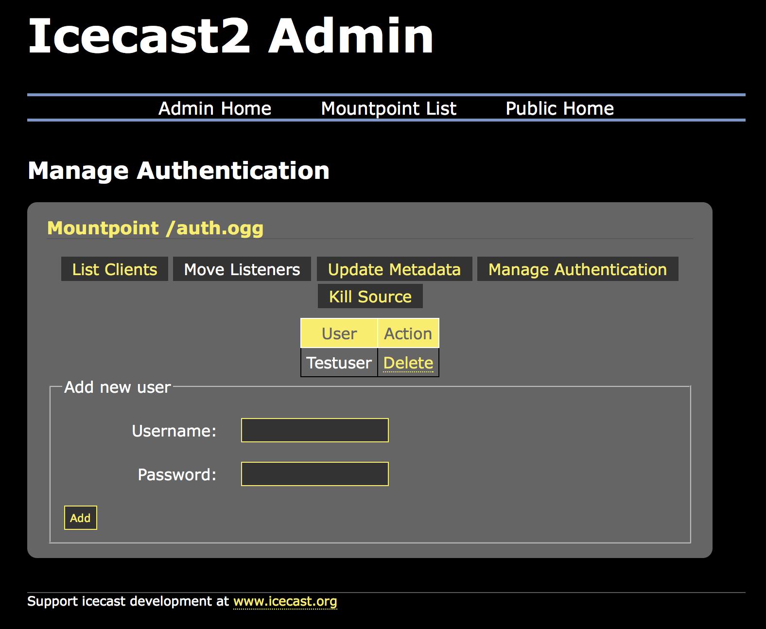 Icecast Docs — Authentication